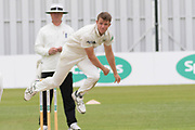 Shaw bowling during the Specsavers County Champ Div 2 match between Leicestershire County Cricket Club and Gloucestershire County Cricket Club at the Fischer County Ground, Grace Road, Leicester, United Kingdom on 17 June 2019.