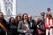 Roma 15 Aprile 2015<br /> Cerimonia di ricollocazione della targa, che intitola il ponte di Via Ostiense a Settimia Spizzichino,( Roma, 15 aprile 1921 – Roma, 3 luglio 2000), reduce della Shoah e unica donna sopravvissuta al rastrellamento del ghetto di Roma il 16 ottobre 1943. Nella foto: L'assessore capitolino al Patrimonio Alessandra Cattoi (C)<br /> Rome April 15, 2015<br /> Ceremony placement of the plate that's called the bridge of  Via Ostiense in Settimia Spizzichino, (Rome, April 15, 1921 - Rome, 3 July 2000), survivor of the Holocaust and only woman survived the roundup of the ghetto of Rome October 16,1943. Pictured: The commissioner Capitoline the  patrimony  Alessandra Cattoi (C)
