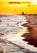 A view of the western half of Ocean Isle Beach presents a dramatic landscape near sunset in early July.  Additional warming and contrast were achieved by processing the image to emulate modern Kodachrome slide film.