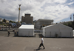May 18, 2018 - Kiev, Ukraine - View of a fan zone of the UEFA Champions League final in central Kiev, Ukraine, 18 May, 2018. The football UEFA Champions League final match between Real Madrid and Liverpool FC next May 26 at the NSC Olimpiyskiy Stadium. (Credit Image: © Str/NurPhoto via ZUMA Press)