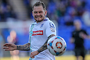 James Norwood (Tranmere Rovers) grimaces as he fails to get on to the end of a through ball during the Vanarama National League match between Tranmere Rovers and Grimsby Town FC at Prenton Park, Birkenhead, England on 30 April 2016. Photo by Mark P Doherty.