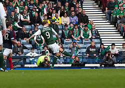Hibernian's Leigh Griffiths scoring their winning fourth goal..Hibernian 4 v 3 Falkirk, William Hill Scottish Cup Semi Final, Hampden Park..©Michael Schofield..