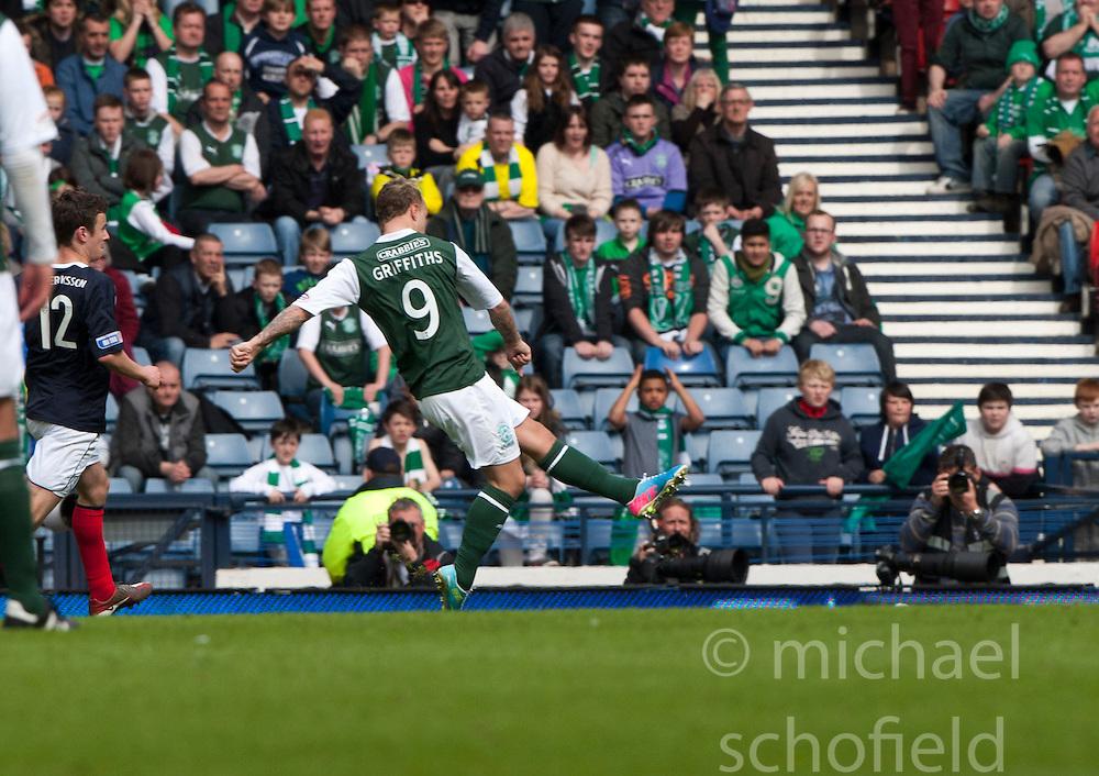 Hibernian's Leigh Griffiths scoring their winning fourth goal..Hibernian 4 v 3 Falkirk, William Hill Scottish Cup Semi Final, Hampden Park..©Michael Schofield..