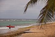 A surfer on Playa Shacks beach in Isabela Puerto Rico