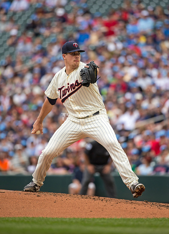 MINNEAPOLIS, MN- MAY 16: Trevor May #65 of the Minnesota Twins pitches against the Tampa Bay Rays on May 16, 2015 at Target Field in Minneapolis, Minnesota. The Twins defeated the Rays 6-4. (Photo by Brace Hemmelgarn) *** Local Caption *** Trevor May