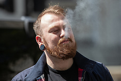 """© Licensed to London News Pictures . 06/05/2018. London, UK. MARKUS MEECHAN (aka Count Dankula). Supporters of alt-right and anti-Islam groups, including Generation Identity and the Democratic Football Lads Alliance, demonstrate at Whitehall in Westminster, opposed by anti-fascists. Speakers billed in the """"Day for Freedom"""" include former EDL leader Tommy Robinson, Milo Yiannopoulos, youtuber Count Dankula (Markus Meechan), For Britain leader Anne Marie Waters, UKIP leader Gerard Batten, Breitbart's Raheem Kassam and Lauren Southern. The event was originally planned as a march to Twitter's HQ in protest at their banning of Robinson and the Home Office's ban on Martin Sellner and Brittany Pettibone entering the UK, in what protesters describe as limits being imposed on free speech. Photo credit: Joel Goodman/LNP"""
