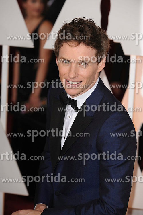 22.02.2015, Dolby Theatre, Hollywood, USA, Oscar 2015, 87. Verleihung der Academy of Motion Picture Arts and Sciences, im Bild Eddie Redmayne // attends 87th Annual Academy Awards at the Dolby Theatre in Hollywood, United States on 2015/02/22. EXPA Pictures &copy; 2015, PhotoCredit: EXPA/ Newspix/ PGMP<br /> <br /> *****ATTENTION - for AUT, SLO, CRO, SRB, BIH, MAZ, TUR, SUI, SWE only*****
