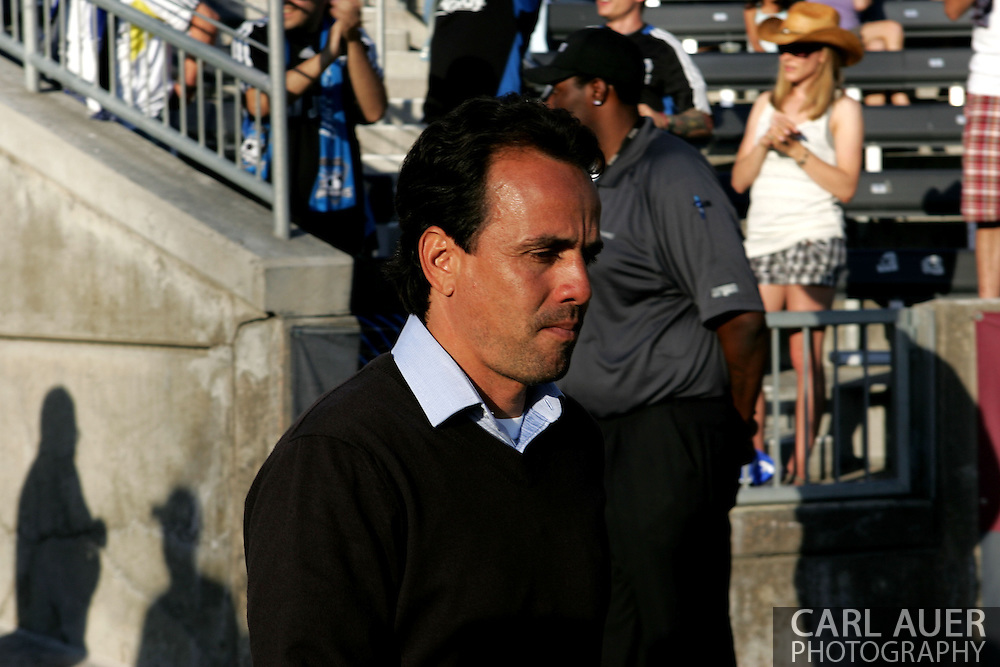June 15th, 2013 - Colorado Rapids head coach Oscar Pareja takes the field prior to the start of action in the MLS match between San Jose Earthquake and the Colorado Rapids at Dick's Sporting Goods Park in Commerce City, CO