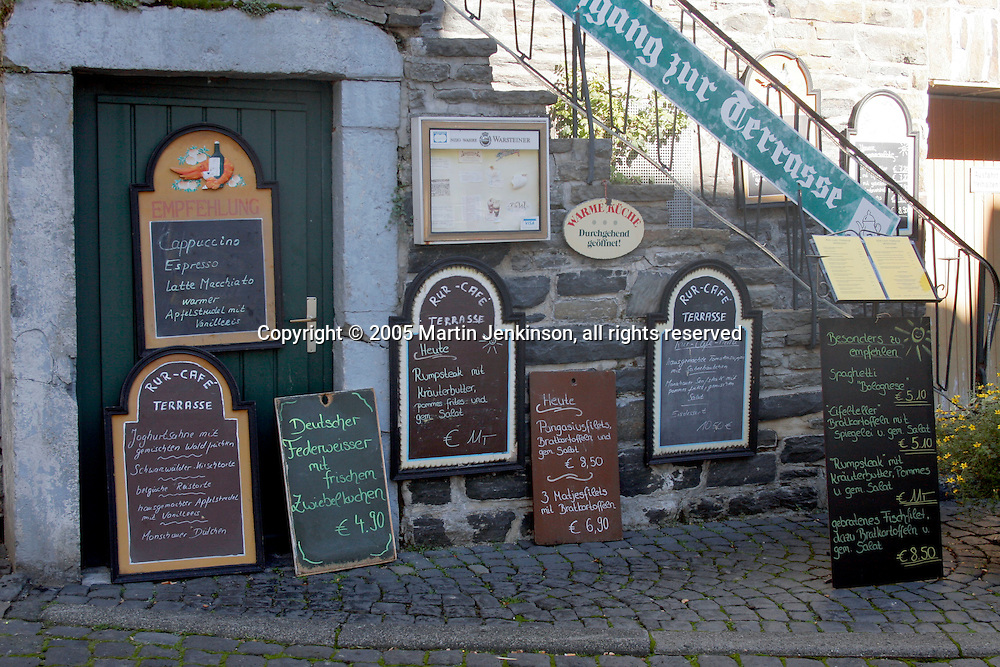 Collection of menus in German outside a cafe with prices in euros ..., Travel, lifestyle