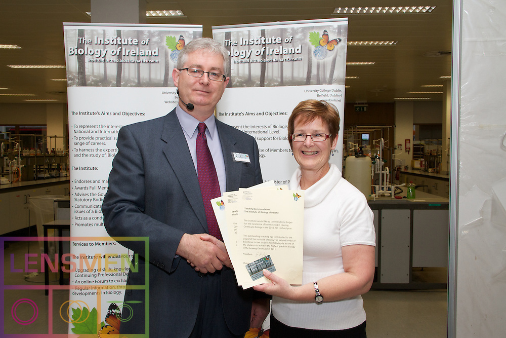 Excellence shines through. Award of medals of excellence by the Institute of Biology of Ireland to students who achieved highest marks in 2011 Leaving Certificate Biology exam in 2011, with presentations also to the teachers of these students ..Ceremony took place during 2012 Annual Conference of Irish Science Teachers Association in Trinity College Dublin, on 20.04.2012...Pictured at the Biology of Ireland Award presentation were;.Dr David I.OConnor, Chairman,The Institute of Biology of Ireland...Una Bolger, Biology teacher Gorey Community School in Gorey, Co.Wexford. .