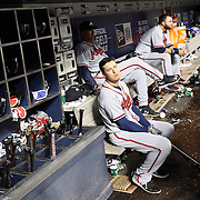 NEW YORK, NEW YORK - MAY 02:  Kelly Johnson #24 of the Atlanta Braves preparing to bat in the dugout during the Atlanta Braves Vs New York Mets MLB regular season game at Citi Field on May 02, 2016 in New York City. (Photo by Tim Clayton/Corbis via Getty Images)
