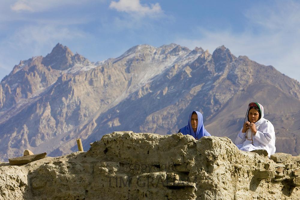 Women in mountain village of Altit in Hunza region of Karokoram Mountains, Pakistan