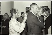 GAVIN TURK, SIGNING BANKNOTE; HAMISH PATEL? Sensation Opening. Royal Academy of Art. London.16 September 1997.