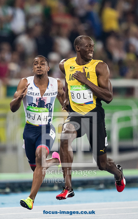 Usain Bolt of Jamaica during the Men's 100m Semi-final on day nine of the XXXI 2016 Olympic Summer Games in Rio de Janeiro, Brazil.<br /> Picture by EXPA Pictures/Focus Images Ltd 07814482222<br /> 14/08/2016<br /> *** UK &amp; IRELAND ONLY ***<br /> <br /> EXPA-GRO-160815-5438.jpg