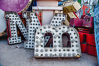 Three letters recovered from a sign, residing at the Neon Museum in Las Vegas, NV