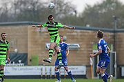 Forest Green Rovers Gavin Gunning(16) heads the ball clear during the EFL Sky Bet League 2 match between Forest Green Rovers and Chesterfield at the New Lawn, Forest Green, United Kingdom on 21 April 2018. Picture by Shane Healey.
