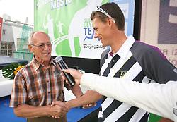 Vasilij Zbogar and Miroslav Cerar at welcome ceremony in Olympic City BTC, on August 23, 2008, in Alea Mladih, BTC, Ljubljana, Slovenia. (Photo by Vid Ponikvar / Sportal Images)./ Sportida)
