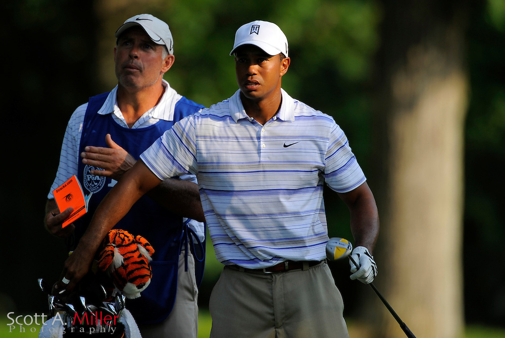 Aug 14, 2009; Chaska, MN, USA; Tiger Woods (USA) with his caddie Steve Williams during the second round of the 2009 PGA Championship at Hazeltine National Golf Club.  ©2009 Scott A. Miller