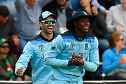 Wicket - Jofra Archer of England celebrates catching Mosaddek Hossain of Bangladesh off the bowling of Ben Stokes of England during the ICC Cricket World Cup 2019 match between England and Bangladesh the Cardiff Wales Stadium at Sophia Gardens, Cardiff, Wales on 8 June 2019.