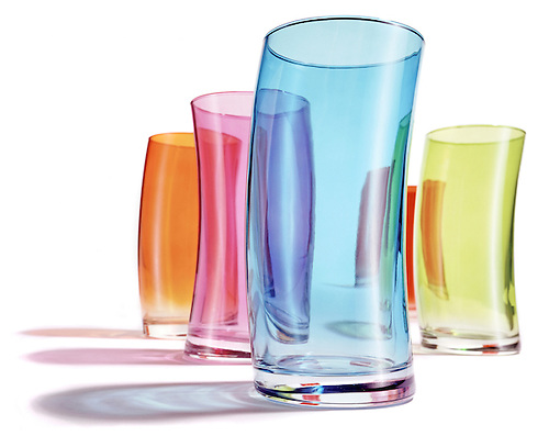 rainbow colored collection of drinking glasses