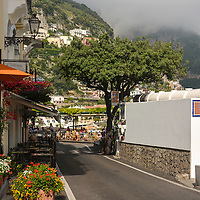 Typical view seen along any road in Positano, Italy