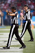 NFL officials signal no good as the Los Angeles Chargers miss an extra point during the NFL week 4 regular season football game against the San Francisco 49ers on Sunday, Sept. 30, 2018 in Carson, Calif. The Chargers won the game 29-27. (©Paul Anthony Spinelli)
