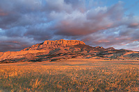 Sunrise over Castle Reef Mountain. Rocky Mountain front ranges near Augusta Montana