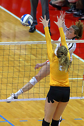 23 November 2017:  Ella Francis strikes past Alana Brown during a college women's volleyball match between the Valparaiso Crusaders and the Illinois State Redbirds in the Missouri Valley Conference Tournament at Redbird Arena in Normal IL (Photo by Alan Look)