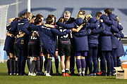 Everton Women's Team post game team talk during the FA Women's Super League match between Manchester City Women and Everton Women at the Sport City Academy Stadium, Manchester, United Kingdom on 20 February 2019.