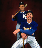 1992:  Baseball Hall of Famer's George Brett and Robin Yount pose for a portrait together at County Stadium in Milwaukee, Wisconsin in 1992.  Brett played for the Kansas City Royals from 1973-1993, and Yount for the Brewers from 1974-1993.  (Photo by Ron Vesely)