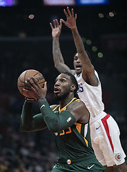 January 16, 2019 - Los Angeles, California, United States of America - Lou Williams #23 of the Los Angeles Clippers tries to block Royce O'Neale #23 of the Utah Jazz during their NBA game  on Wednesday January 16, 2019 at the Staples Center in Los Angeles, California. Clippers lose to Jazz, 129-109. JAVIER ROJAS/PI (Credit Image: © Prensa Internacional via ZUMA Wire)