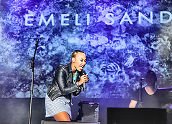 © Licensed to London News Pictures. 07/09/2013. Gibraltar, UK Emeli Sande performing live at the Gibraltar Music Festival 2013 which is part of a whole week of celebrations leading up to Gibraltar National Day. Photo credit : Donovan Torres/LNP