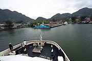 the harbour of the capital city of Victoria, St. Anne Island at back, Mahe Island, Seychelles