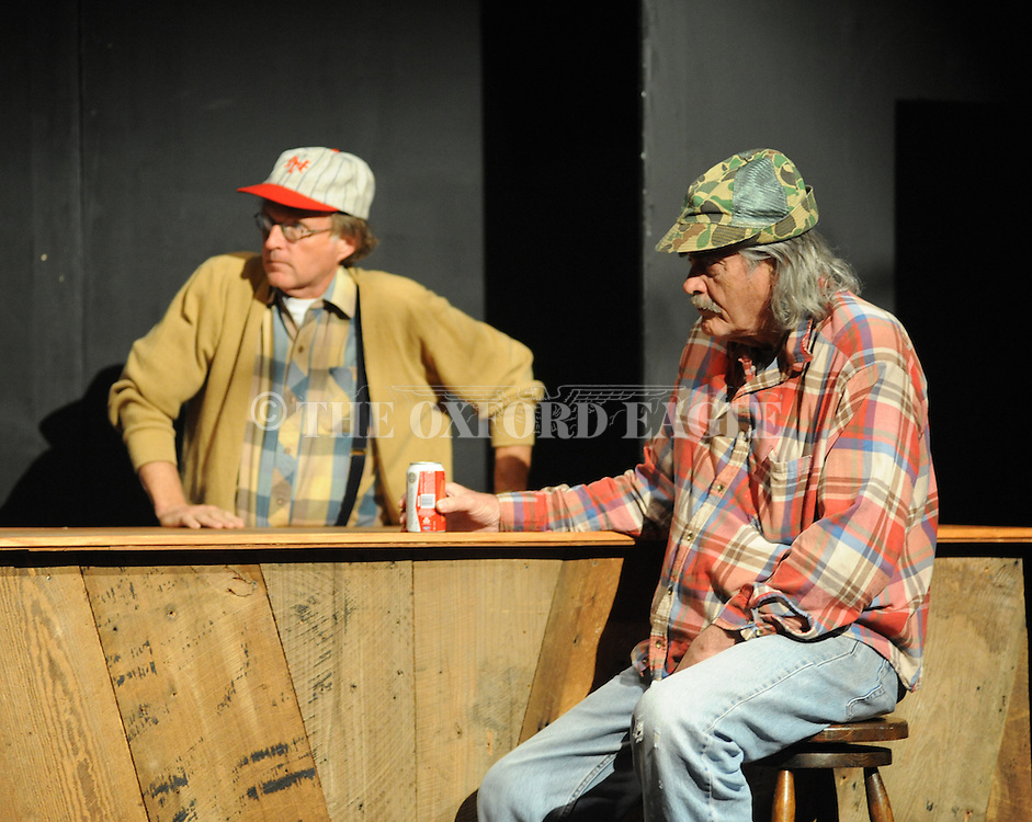 """Johnny McPhail rehearses for Tyler Keith's """"Outlaw Biker"""" at the Powerhouse in Oxford, Miss. on Sunday, October 28, 2012. The production will be performed on Halloween at 8 p.m."""