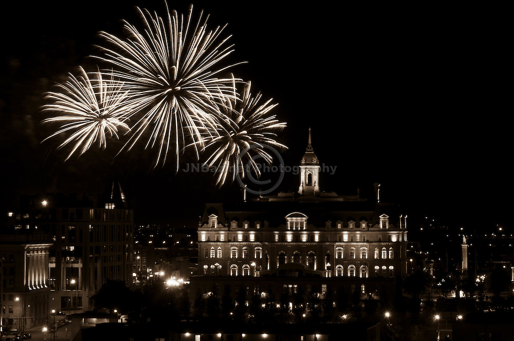 Fireworks in Old Historic Montreal, QC