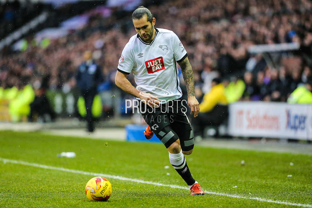 Derby County's Bradley Johnson on the ball during the Sky Bet Championship match between Derby County and Brighton and Hove Albion at the iPro Stadium, Derby, England on 12 December 2015. Photo by Shane Healey.