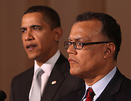 President Barack Obama makes a statement about the U.S, auto manufacturing industry and names a new car tszar.  The statement was made in the Grand Foyer of the White House on March 30, 2009.  Edward Montgomery,newly appointed Director of Recovery for Auto Communities and Workers is on right.  Photograph by Dennis Brack