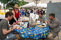 Pastrami, brisket or tongue sandwiches; potato and meat knishes; cheese blintzes with sour cream and strawberries were among the specialties for patrons during Temple B'nai Isreal's Jewish Food Festival in Laconia on Sunday.  (Karen Bobotas/for the Laconia Daily Sun)
