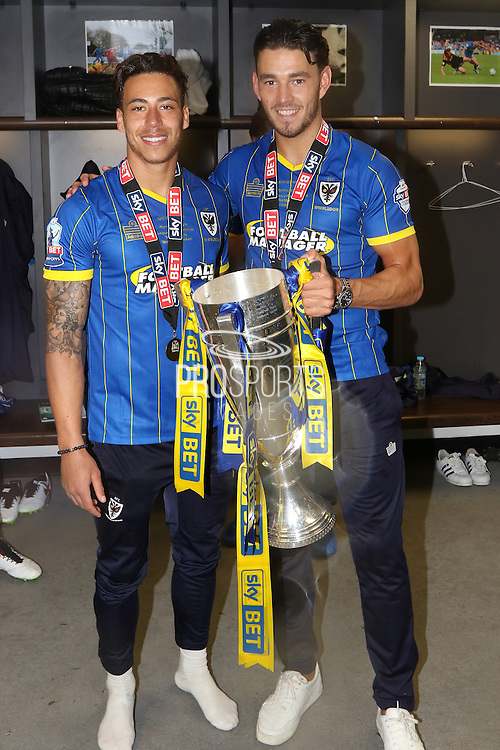 David Fitzpatrick forward for AFC Wimbledon (19),Will Nightingale defender of AFC Wimbledon (5) celebrate as AFC Wimbledon win promotion to league 1after the Sky Bet League 2 play off final match between AFC Wimbledon and Plymouth Argyle at Wembley Stadium, London, England on 30 May 2016. Photo by Stuart Butcher.
