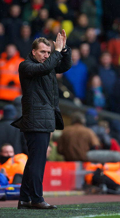 LIVERPOOL, ENGLAND - Saturday, February 8, 2014: Liverpool's manager Brendan Rodgers during the Premiership match against Arsenal at Anfield. (Pic by David Rawcliffe/Propaganda)