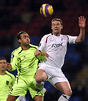 Photo: Paul Thomas/Sportsbeat Images.<br /> Bolton Wanderers v Aris Salonica. UEFA Cup. 29/11/2007.<br /> <br /> Kevin Nolan of Bolton battles with Athanasios Prittas (L).