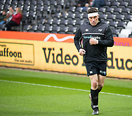 Ospreys' Kieron Fonotia during the pre match warm up<br /> <br /> Photographer Simon King/Replay Images<br /> <br /> Guinness PRO14 Round 19 - Ospreys v Connacht - Friday 6th April 2018 - Liberty Stadium - Swansea<br /> <br /> World Copyright &copy; Replay Images . All rights reserved. info@replayimages.co.uk - http://replayimages.co.uk
