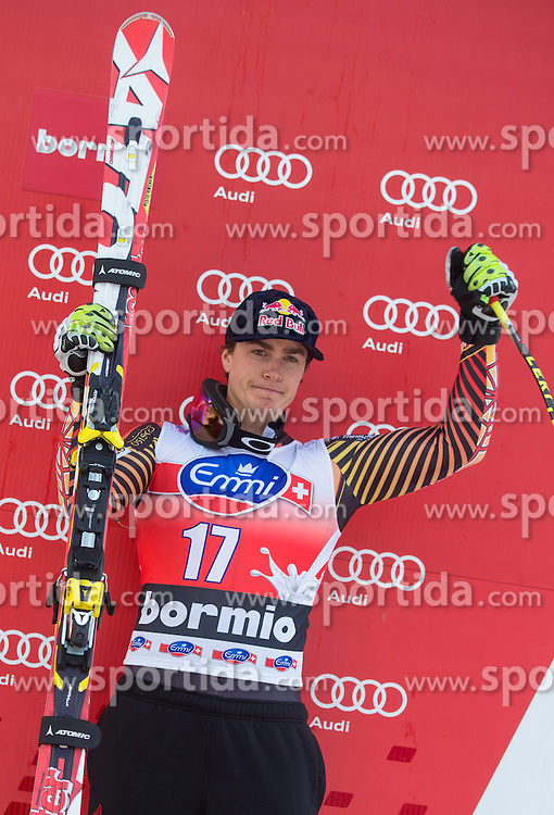 29.12.2013, Stelvio, Bormio, ITA, FIS Ski Weltcup, Bormio, Abfahrt, Herren, Siegerpraesentation, im Bild Erik Guay (CAN, 3. Platz) // 3rd place Erik Guay of Canada Celebrate on Podium after mens downhill of the Bormio FIS Ski Alpine World Cup at the Stelvio Course in Bormio, Italy on 2013/12/29. EXPA Pictures © 2013, PhotoCredit: EXPA/ Johann Groder