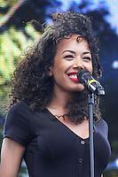Jade Ewen, West End Live 2014, Trafalgar Square, London UK, 21 June 2014, Photo by Brett D. Cove