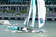 GAC Pindar. Day three of the Extreme Sailing Series regatta being sailed in Singapore. 22/2/2014