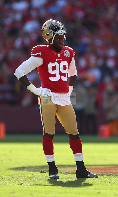 San Francisco 49ers outside linebacker Aldon Smith (99) in action against the Miami Dolphins during an NFL game at Candlestick Park on December 9, 2012 in San Francisco, CA.  (Photo by Jed Jacobsohn)