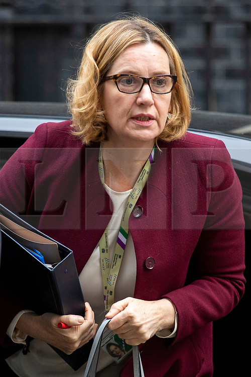 © Licensed to London News Pictures. 24/04/2018. London, UK. Home Secretary Amber Rudd on Downing Street for the weekly Cabinet meeting. Photo credit: Rob Pinney/LNP