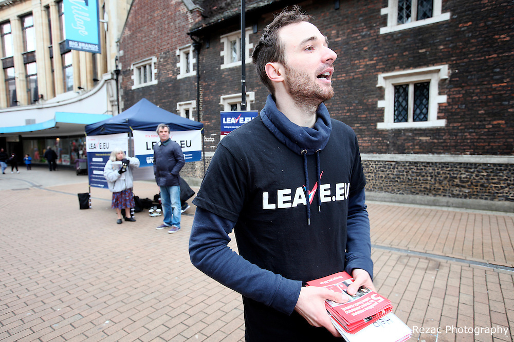 UK ENGLAND LONDON CROYDON 16APR16 - Volunteer campaigner Chris Mendes (30) at the stall of the Vote Leave campaign on the Croydon high street in south London.<br /> <br /> <br /> <br /> jre/Photo by Jiri Rezac<br /> <br /> <br /> <br /> © Jiri Rezac 2016