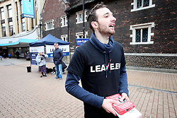 UK ENGLAND LONDON CROYDON 16APR16 - Volunteer campaigner Chris Mendes (30) at the stall of the Vote Leave campaign on the Croydon high street in south London.<br /> <br /> <br /> <br /> jre/Photo by Jiri Rezac<br /> <br /> <br /> <br /> &copy; Jiri Rezac 2016