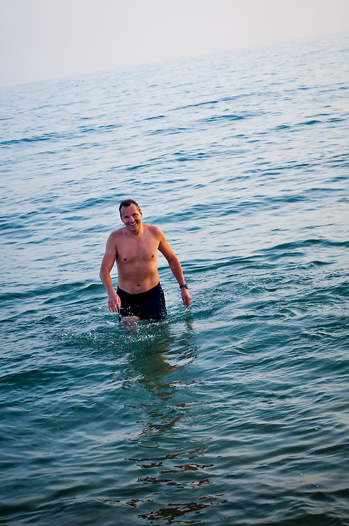 Russian businessman Alex Konanykhin taking a swim outside Barcelona, Spain..(b. Alexandre Pavlovich Konanykhine)..Photographer: Chris Maluszynski /MOMENT